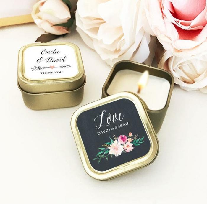 velas aromáticas en bonitas latas, detalles de boda originales para invitados, ideas de pequeños regalos para sorprender a tus invitados
