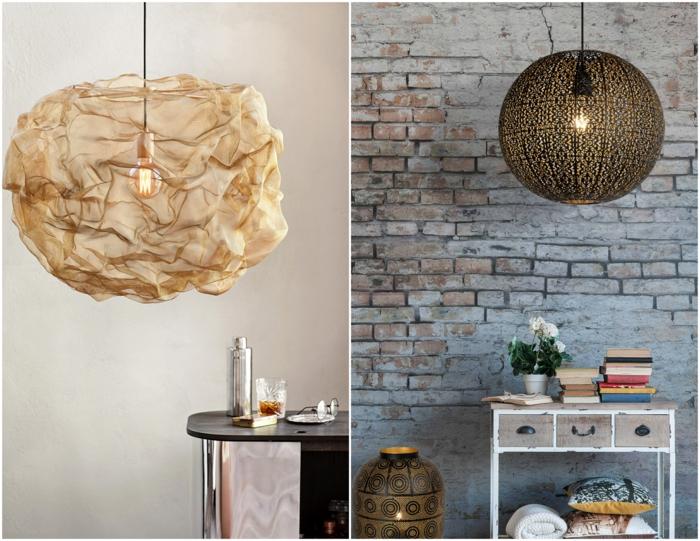 ideas de lámparas de techo salón de diseño, dos ejemplos de lámparas de forma original, tendencias iluminación 2019