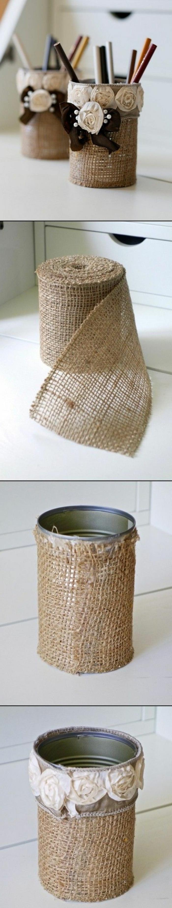 como hacer lapiceros DIY con tela de saco, talleres para niños originales, tutoriales de manualidades para decoración