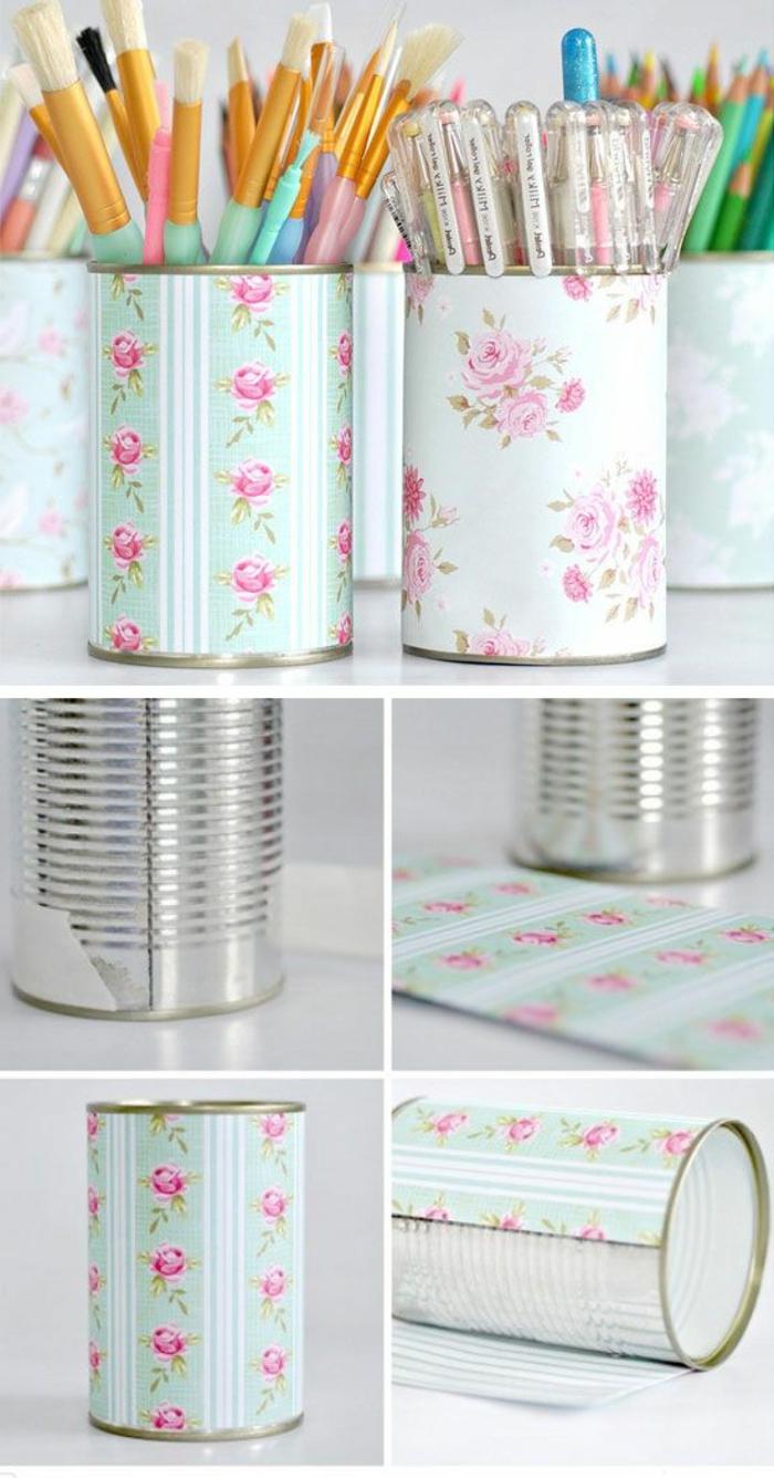 bonitas ideas sobre cómo reutilizar los trozos de papel pintado que tenemos en casa, lapiceros DIY bonitos con motivos florales