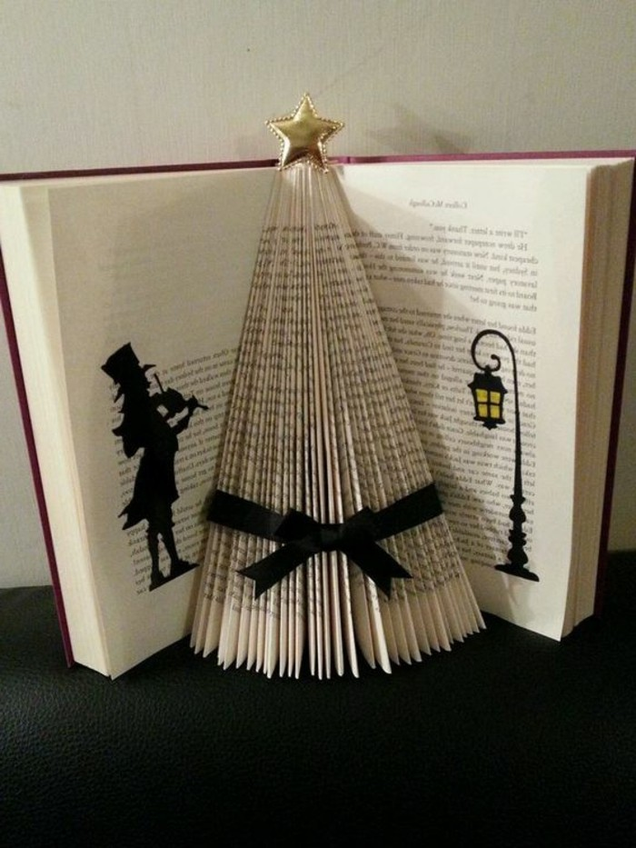 ideas de manualidades de papel para navidad, preciosa decoraci'on hecha con un libro, manualidades de Navidad