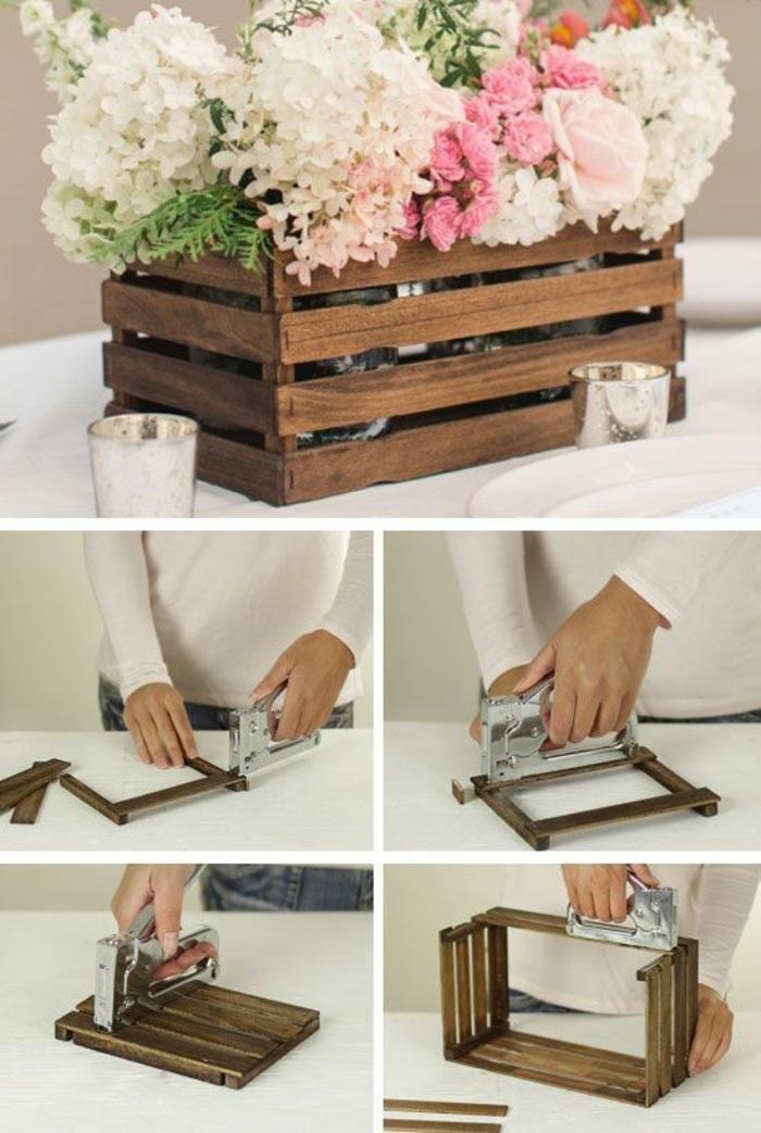 como hacer manualidades de cajas de madera, ideas de proyectos de bricolaje con reciclaje, macetas de madera paso a paso