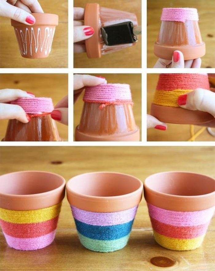coloridas ideas de manualidades, macetas DIY decoradas con hilo en colores, tutoriales de manualidades para pequeños y adultos