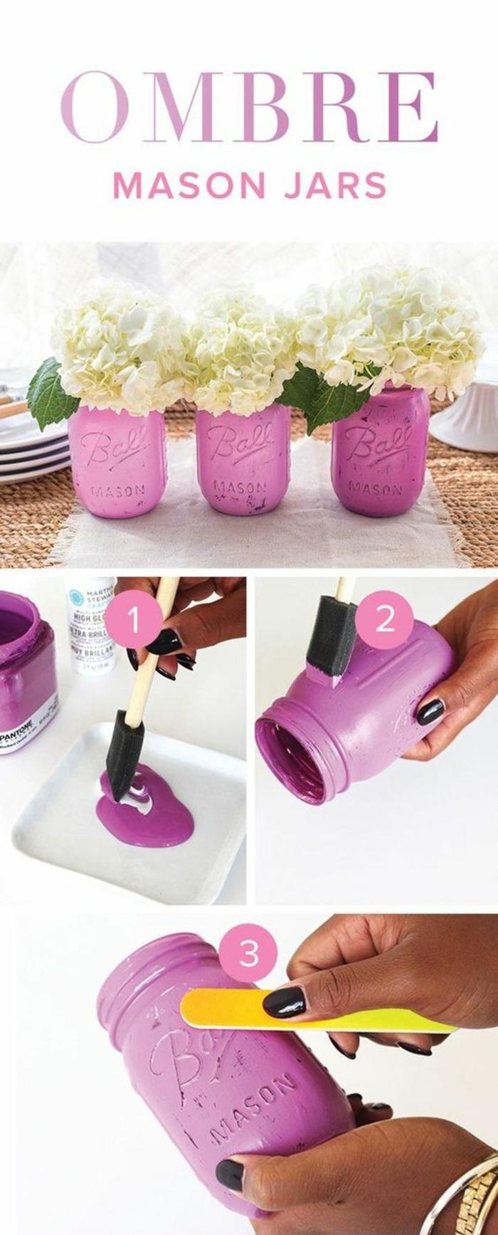 floreros decorativos pintados en efecto ombre, decoración casera paso a paso, jarrones pintados en color rosado