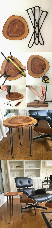 ideas de bricolaje, mesa de tronco de madera hecha a mano, muebles hechos a mano para hacer en casa paso a paso