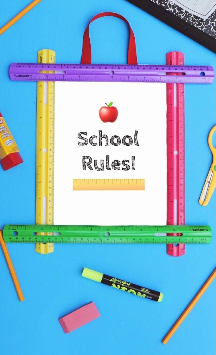 super originales propuestas de regalos originales para profesores fin de curso, cuadro decorativo con reglas coloridas