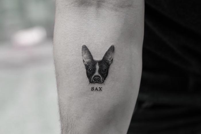 tatuaje antebrazo perro, tatuajes pequeños hombre, diseños de tatuajes unicos, tatuajes tinta negra en el antebrazo