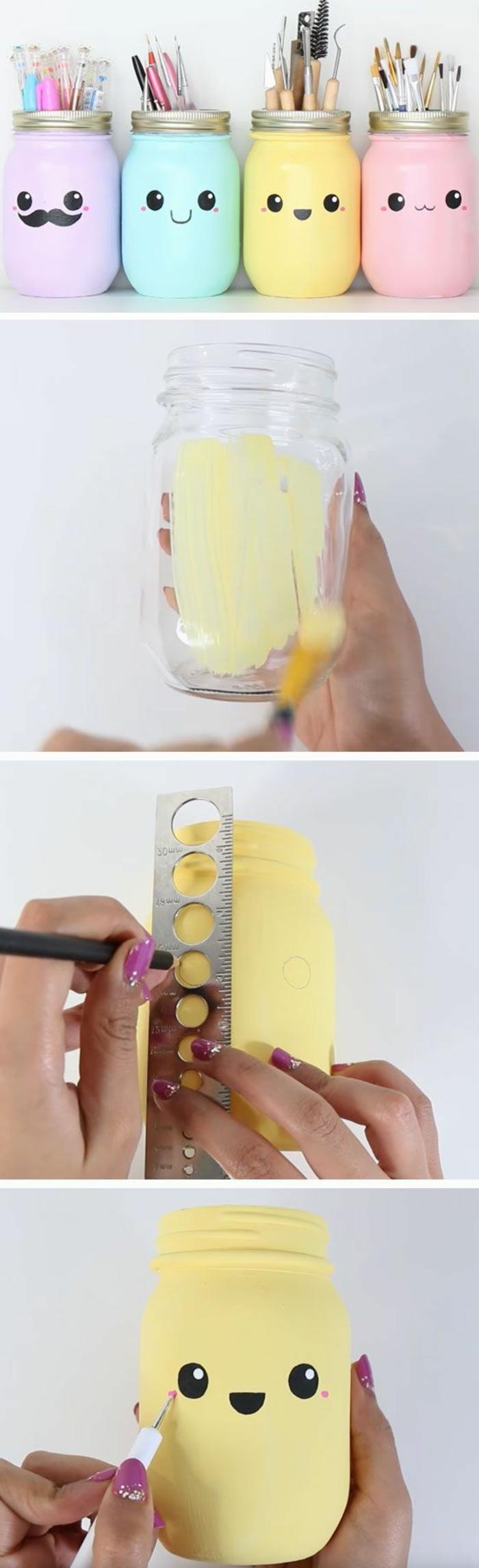 coloridas ideas de manualidades infantiles con reciclaje, proyectos DIY para los pequeños, frascos de cristal pintados en colores pastel