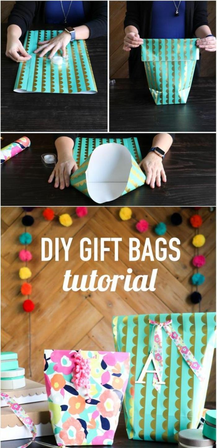 ideas de embalaje DIY original, bolsos envueltos de papel embalaje, manualidades infantiles originales, tutoriales fáciles