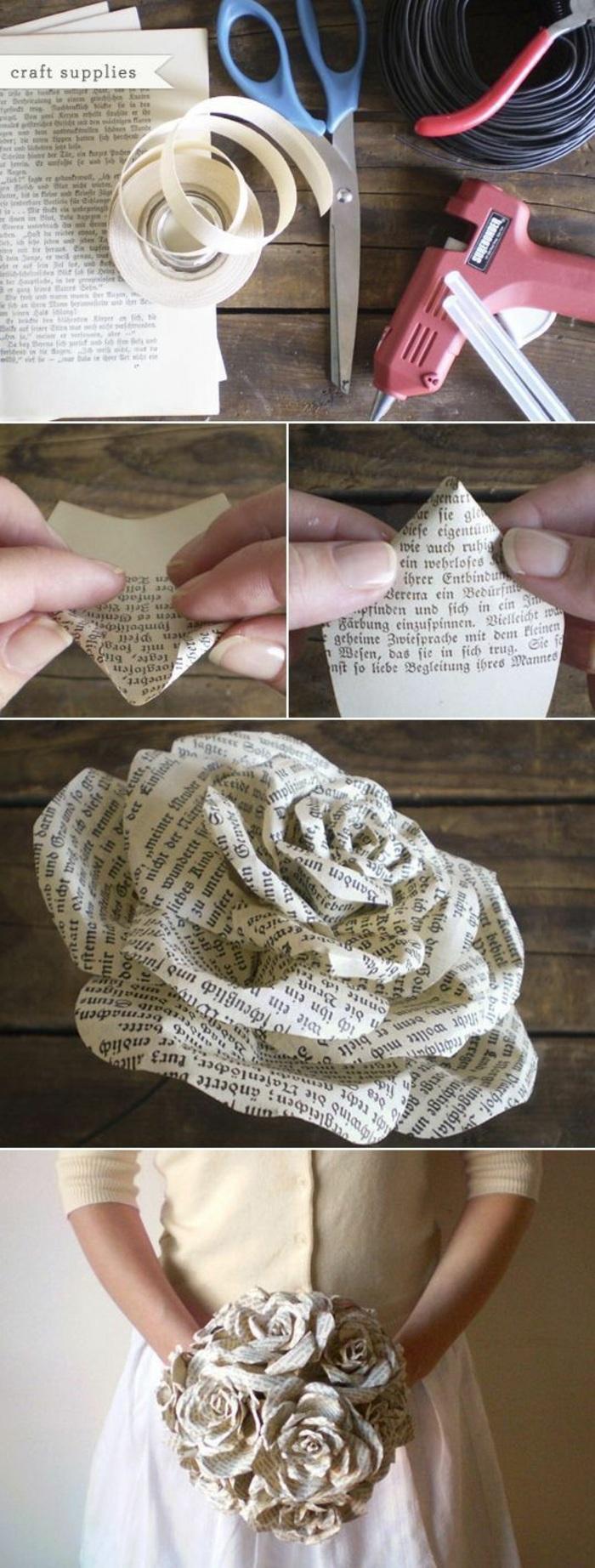 cómo hacer manualidades únicas de reciclaje, flores de papel paso a paso, ramo de flores de papel periódico en fotos