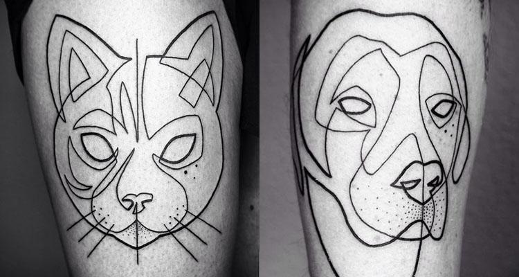 tatuajes de animales originales. diseños de tatuajes con una sola linea continua, animales geometricos tatuados en el cuerpo