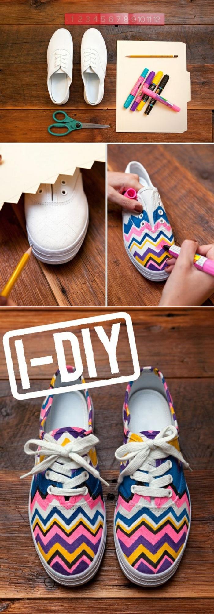 originales ideas de manualidades para pequeños y adultos para el verano, zapatillas decoradas con marcadores en colores vibrantes