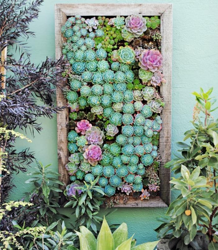 originales ideas sobre como armar un jardin vertical en el patio, marco de madera en la pared con plantas suculentas