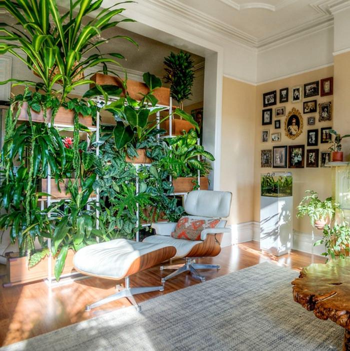 bonito salón decorado en estilo en estilo vintage, decoracion plantas verdes en macetas, ideas de jardin vertical en fotos