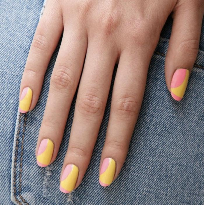combinaciones de uñas para el verano, uñas en amarillo y rosado, decorados de uñas originales y elegantes, diseños de uñas 2019