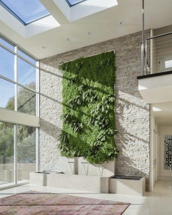 super originales ideas de jardin vertical interior, grande espacio decorado en estilo contemporáneo con grande jardín vertical