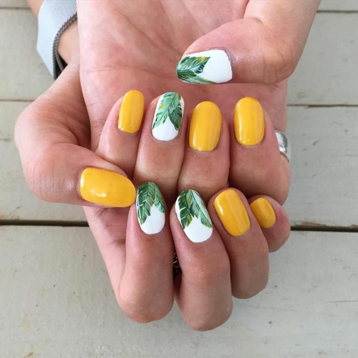 uñas con bonitos dibujos para el verano, decorados de uñas con flores y motivos botánicos, uñas en colores frescas