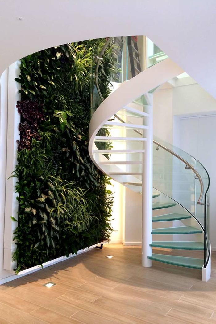 ideas sobre como montar un jardin vertical interior, espacio decorado en estilo moderno, paredes en blanco y parquet con luces empotradas