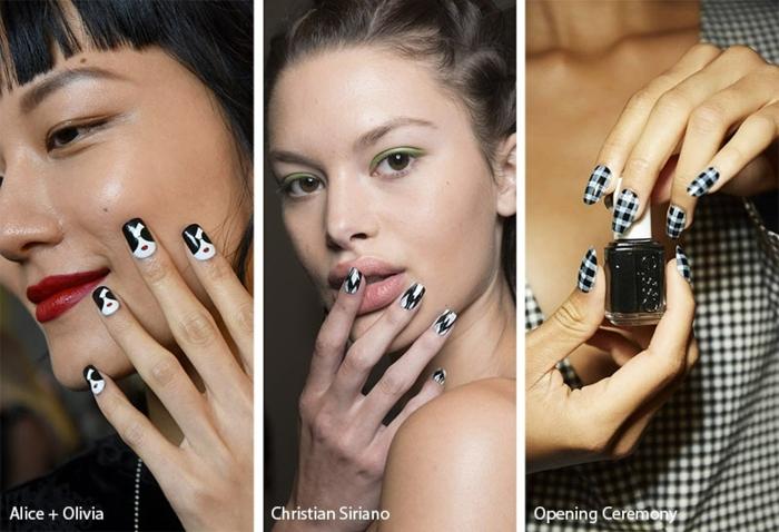 super originales diseños de uñas en blanco y negro, modelos de uñas de gel, tendencias en decoración de uñas para 2019