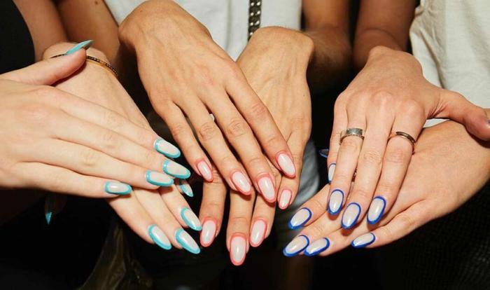 variaciones de las uñas francesas con toques de color, últimas tendencias en uñas y modelos de uñas de gel bonitos