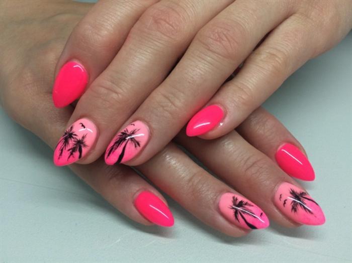 diseños de uñas únicos en colores neón, fotos de uñas de gel bonitas, uñas largas almendradas en tonos neón con dibujos