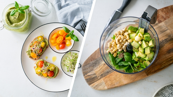 fotos de comidas fáciles y rápidas para hacer en casa, tostadas con aguacate y albahacas, pesto casero con aguacate