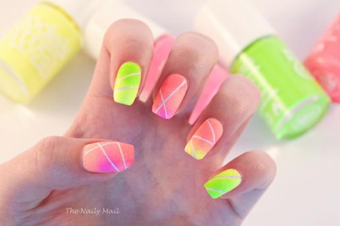 uñas de gel bonitas en colores neón, uñas largas cuadradas con neon con acabado mate, fotos de uñas bonitas para descargar