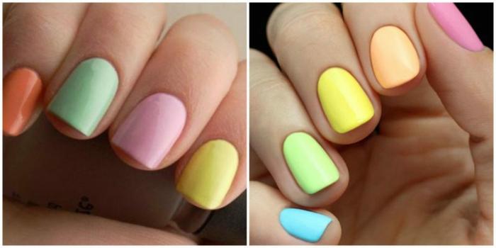 cuáles son las últimas tendencias en uñas, uñas de gel bonitas pintadas en diferentes colores pastel, manicura para el verano