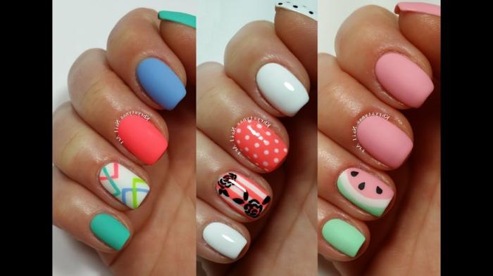 ideas de uñas de gel decoradas para el verano, ejemplos de dibujos y decorados para las uñas, uñas cortas en colores vibrantes