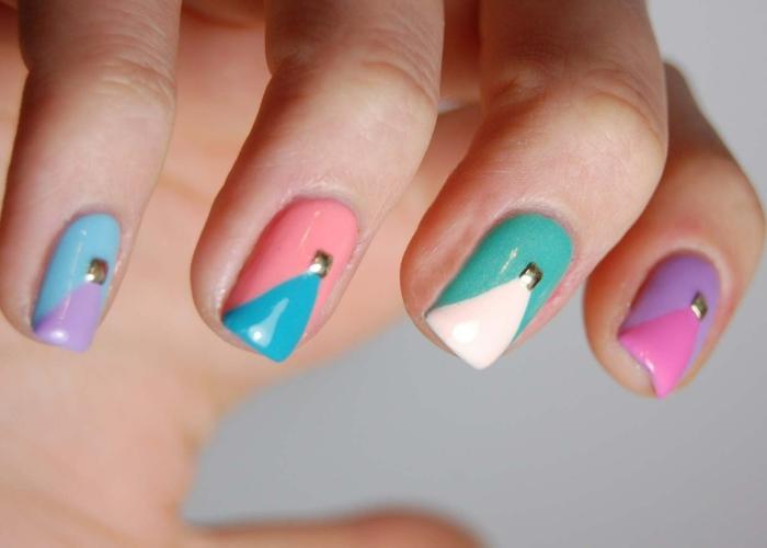 decorados de uñas bonitos, uñas en diferentes colores con detalles geométricos para el verano, uñas de gel decoradas