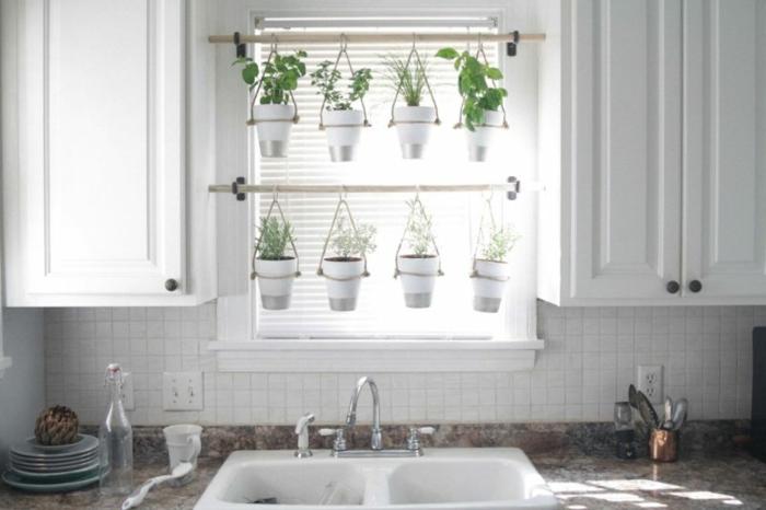 jardines pequeños colgantes para decorar la cocina y el salón, ingeniosas propuestas de decoración con macetas colgantes