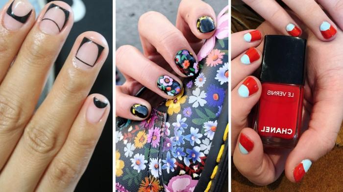 tres originales ideas de manicura de verano, uñas de gel bonitas con decorados modernos, modelos de manicura de verano