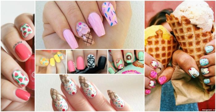 super coloridas propuestas de manicura para el verano, tendencias 2019 verano en imagines, ideas de uñas de gel bonitas