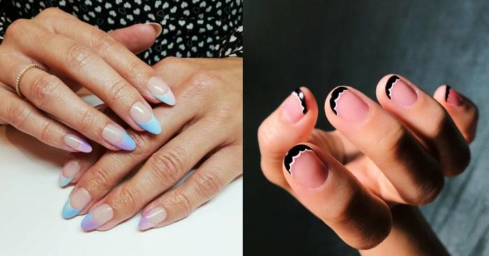 dos geniales ideas de uñas francesas con decorados, uñas de gel bonitas, fotos de manicura original para le verano
