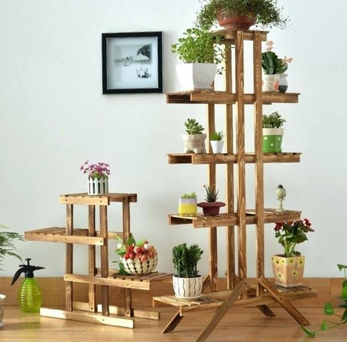 originales ideas sobre cómo montar un jardín vertical en el interior de tu casa, jardineras de madera super bonitos y estilosos