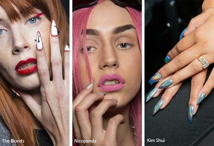 modelos estilosos de uñas largas en gel, uñas de gel decoradas, últimas tendencias de uñas para el verano
