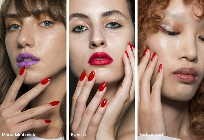 tres opciones de uñas largas pintadas en rojo, uñas de gel decoradas largas, tendencias en las uñas verano 2019