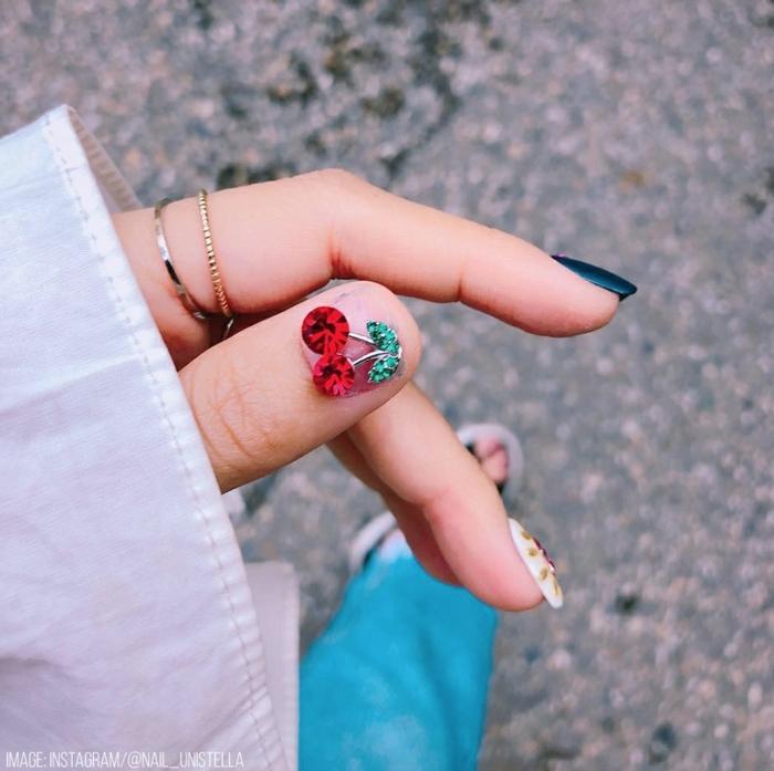 decoraciones en uñas originales para llevar en verano, uñas de gel decoradas para la primavera y el verano