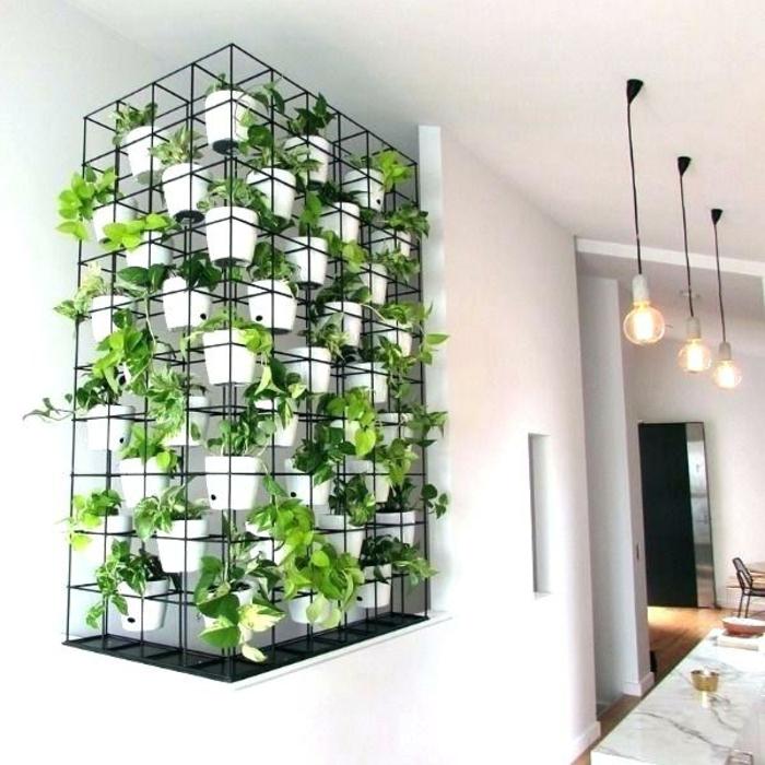 diseño de jardines interiores inusuales, las mejores propuestas de jardines verticales para tu casa, pequeñas macetas blancas
