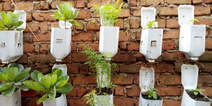 ideas de decoracion de jardines con reciclaje, huerto vertical originales, decoración de jardines con botellas recialadas