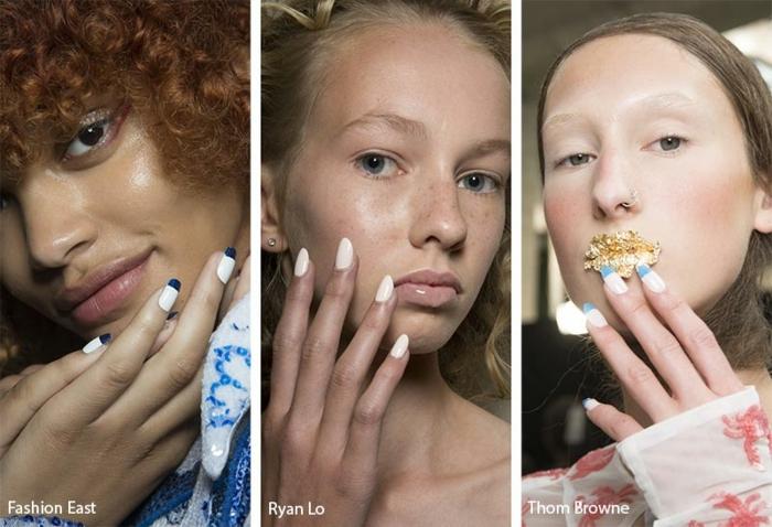 cuáles son los colores más modernos para llevar en verano 2019, uñas de gel decoradas, tres bonitas propuestas de uñas