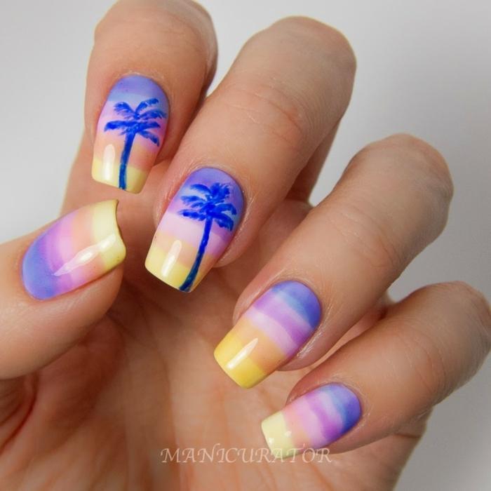 diseños de uñas en bonitos colores, uñas largas cuadradas con dibujos de palmeras, uñas decoradas elegantes