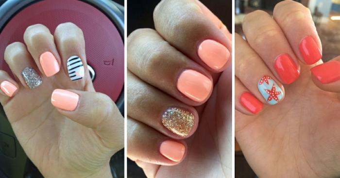 diseños de uñas decoradas con decorados en color naranja, uñas decoradas elegantes, diseños de uñas en fotos