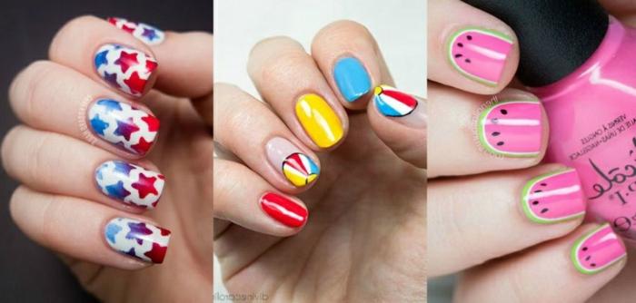 tres super originales diseños para uñas, uñas decoradas elegantes con decorados en colores frescos