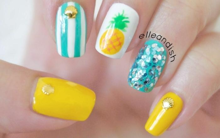 color de uñas verano 2019, uñas pintadas en diferntes colores vibrantes, uñas largas cuadradas en blanco, azul y amarillo