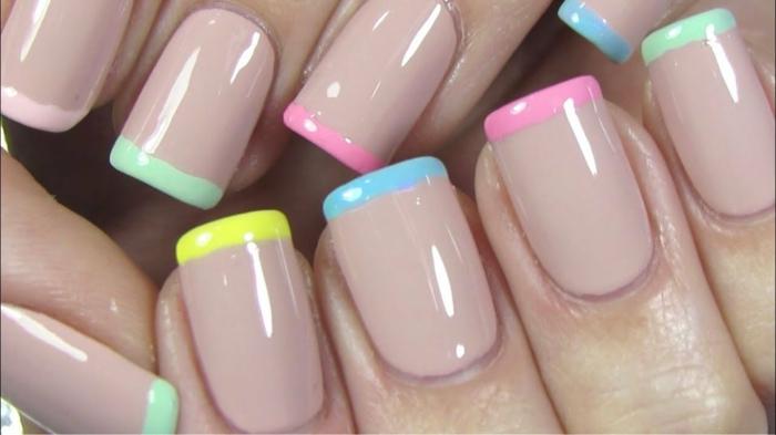 uñas francesas con puntas en diferentes colores pasteles, manicura larga cuadrada, los mejores diseños de uñas