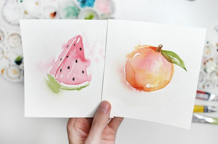 ideas originales de dibujos con acuarelas, fotos de dibujos de frutas y flores, dibujos con acuarelas en colores vibrantes