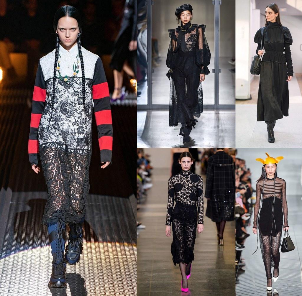 cuáles son las tendencias tendencias otoño invierno 2019 2020, prendas grunge y punk en negro, vestidos negros 2020