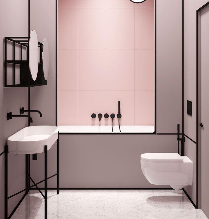 baños en estilo moderno ecléctico, cuartos de baño fotos, diseños de baños modernos en colores en tendencia, baño en rosado y negro