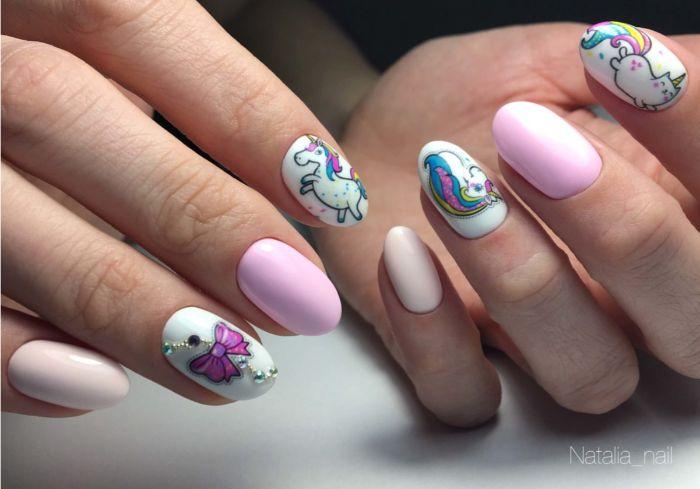los mejores ejemplosde dibujos en uñas, inspiración en más de 85 fotos de diseños de uñas con decoraciones, uñas unicornio en colores pastel